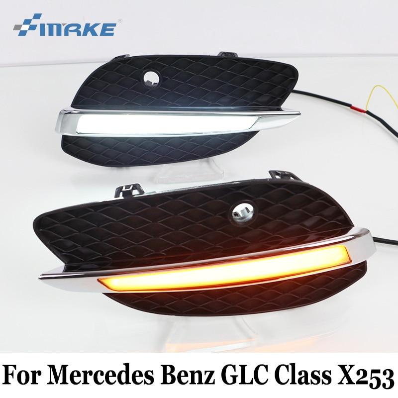 SMRKE DRL For Mercedes Benz GLC Classe X253 200 220 250 260 300 350 2015~2017 / Car LED Daytime Running Lights & Cornering Lamp oe led fog lamps drl lights for mercedes benz a c207 e350 500 300 250 220 cdi s212 c218 cls250 350 500 cdi r172