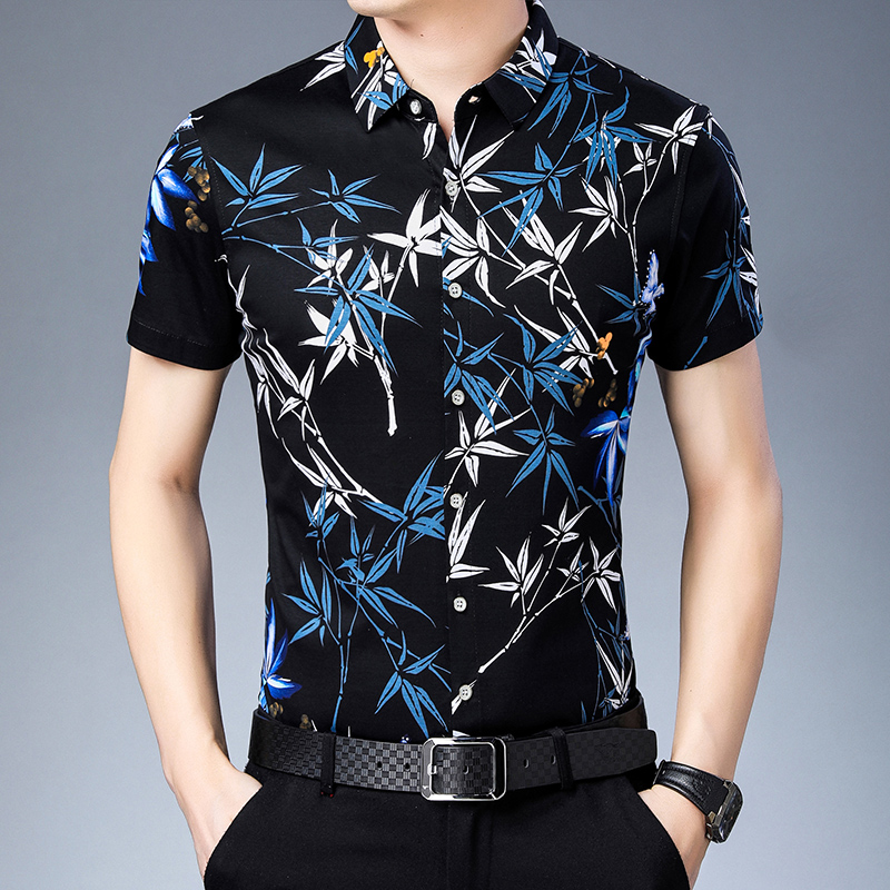 Men Dress Shirts 2019 New style Summer flowers shirt Short Sleeve Floral Casual Men 100% Mercerized cotton Shirt-in Casual Shirts from Men's Clothing
