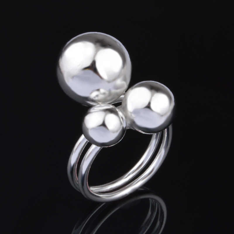 925 Sterling Silver Ring Jewelry Three beads silver plated rings for women Anillos mujer Aneis Anel feminino Bijoux Gift ringen