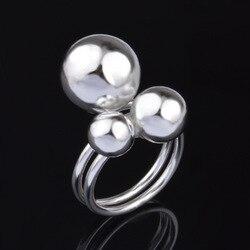 925 Ayar Gümüş Yüzük Takı Üç boncuk gümüş kaplama yüzükler kadınlar için Anillos mujer Aneis Anel feminino Bijoux Hediye ringen