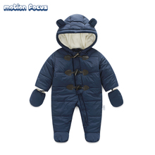 24M Baby Rompers 2016 Newborn Baby Boy Winter Snowsuit Thick Warm Hooded Jumpsuit Infant Costume Free Shipping