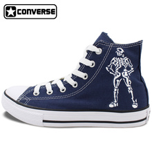 Custom Hand Painted Converse Shoes Skull Rose High Top Blue Canvas Sneakers Unique Christmas Gifts Men Women