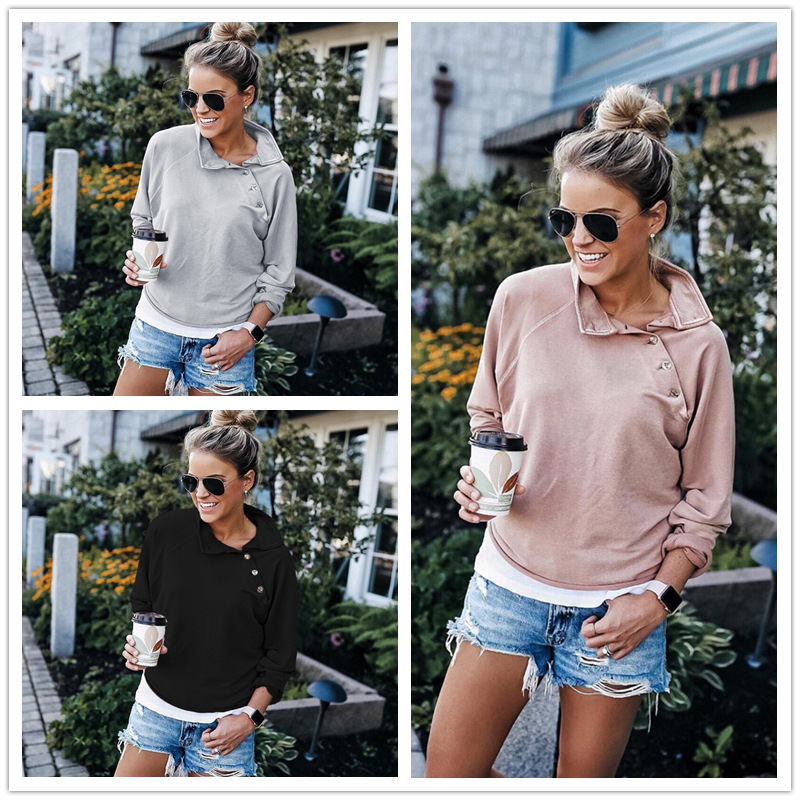 Women Long Sleeve Oblique Collar Button Sweatshirts Autumn Winter Fashion New Solid Casual Loose Cotton Pullover Top Female S-XL
