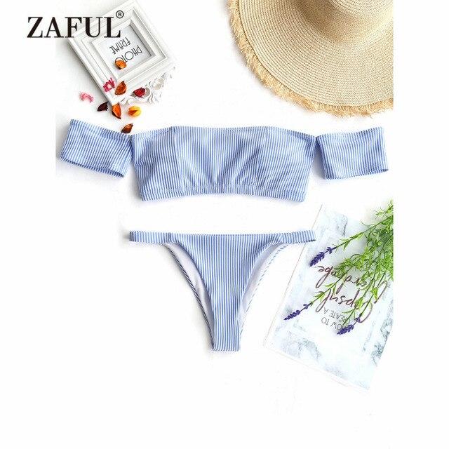 ZAFUL 2018 New Women Striped Off Shoulder Thong Bikini Swimsuit Women Swimwear Padded Boat Neck Short Sleeve Bathing Suit