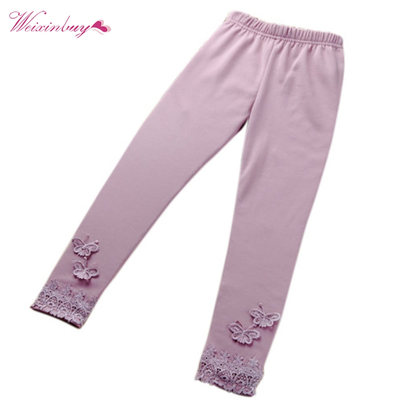 Fashion Stretchy Kid Children Baby Girls   Pants   Cotton Leggings Lace Butterfly   Pants   Toddler   Capris   Solid Trousers For Girls