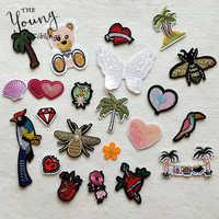 Patch décoratif dessin animé coeur arbre papillon motif brodé appliques patchs pour fer bricolage sur Patch autocollants sur les vêtements
