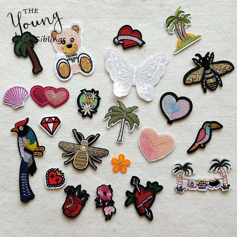 Мультфильм декоративная заплатка Сердце Дерево бабочка шаблон вышитые нашивки-Аппликации для DIY термоклейкая заплата наклейки на одежду