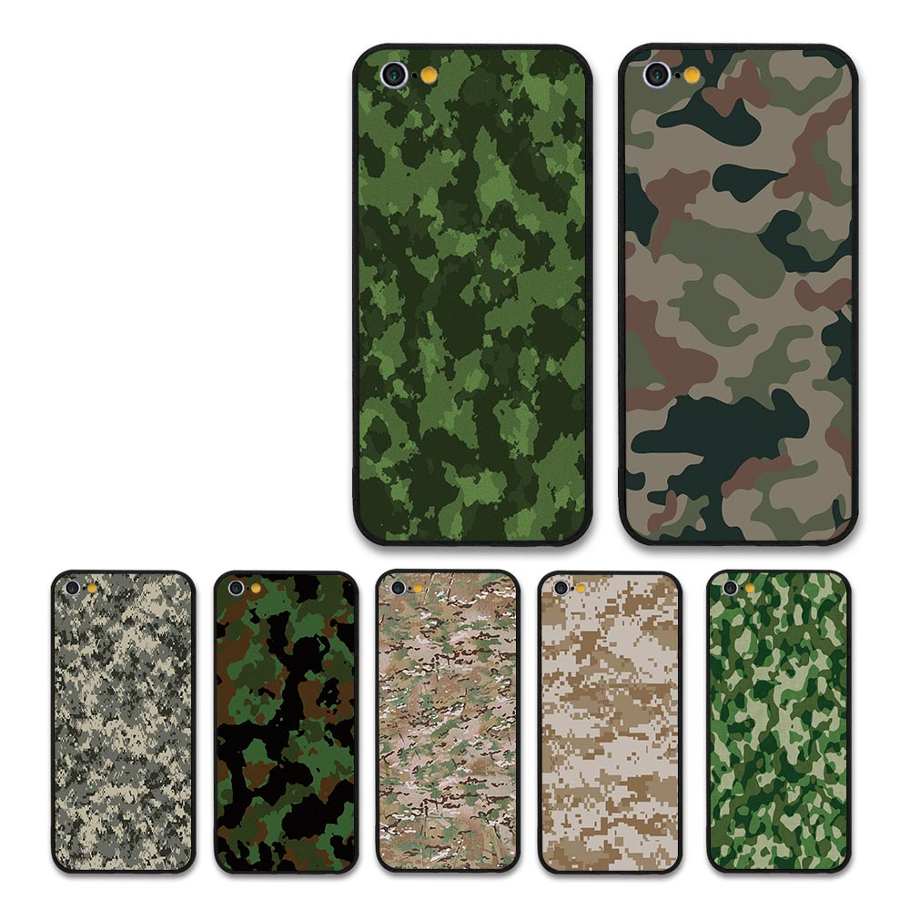 Camouflage color soldier Army Camo Plastic hard black case for Apple iPhone 5 6 7 8