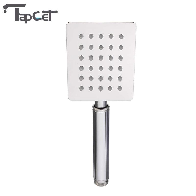 TAPCET 30 Holes Bathroom Hand Sprayer Chrome Stainless Steel Water Saving Square Shower Head Ultra-thin Bathing SPA Showerhead