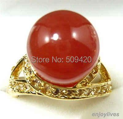 XFS201434er > > สีแดงหยกใหม่คริสตัลแหวนขนาด: 7 8 9