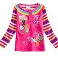 2017 Novo garoto Meninas Camisetas Flor Do Bebê Roupa Infantil Longo camisa de renda de manga comprida t roupas crianças desgaste nova top nf808 Mix