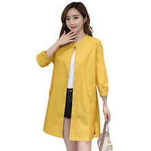 2019 Spring New Windbreaker Loose Thin Mid long Women Trench Coat Large size Slim Single-breasted Female Outerwear Windbreaker 2018 spring new women fashion trench coat female loose cardigan stitching printing long sleeved single breasted outerwear cx88