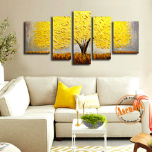 5pcs Hand Painted Abstract Flower Tree Oil Painting on Canvas Unframed Cheerry Blossoms Palette Knife Painting for Living Room