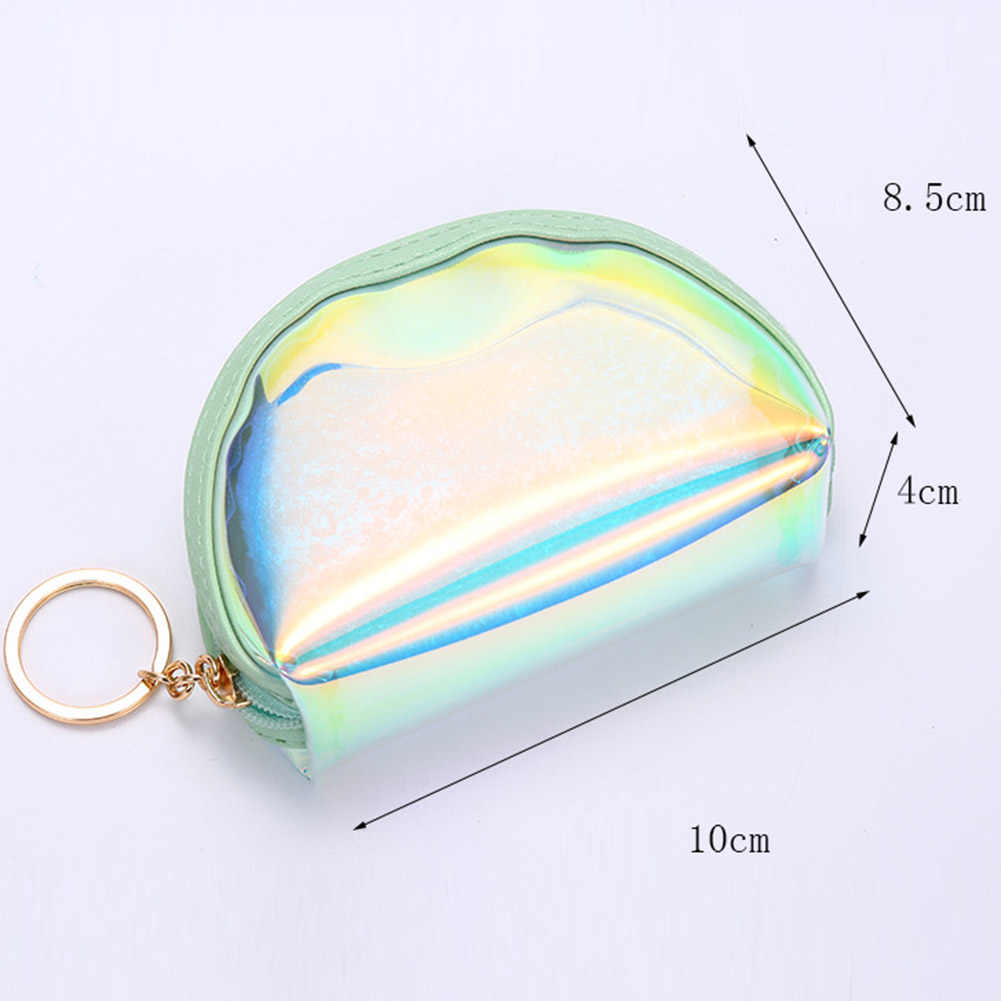 hight resolution of  1pc transparent holographic woman coin purse clear jelly mini bag fashion girls small change purses wholesale