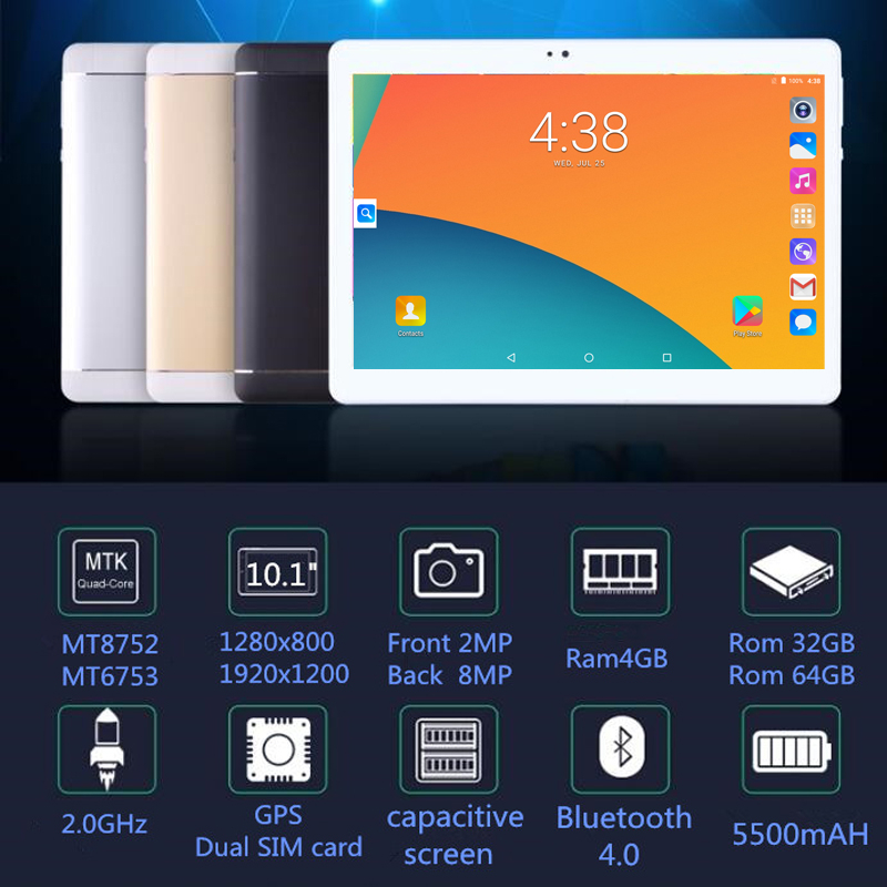 2019 Android 9.0 The Tablet 10.1 Inch 4GB RAM 64GB ROM Octa Core Dual Cameras 5.0MP 1280*800 IPS Phone 3G WPS Tablets 7 8 9 10