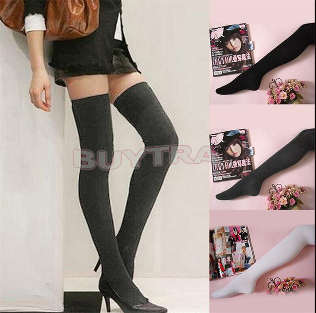fast delivery special section cheaper US $1.67 31% OFF|2018 Brand Design Fashion Girls Ladies Women Thigh High  OVER the KNEE Socks Long Cotton Stockings Black Grey White Women Clothes-in  ...