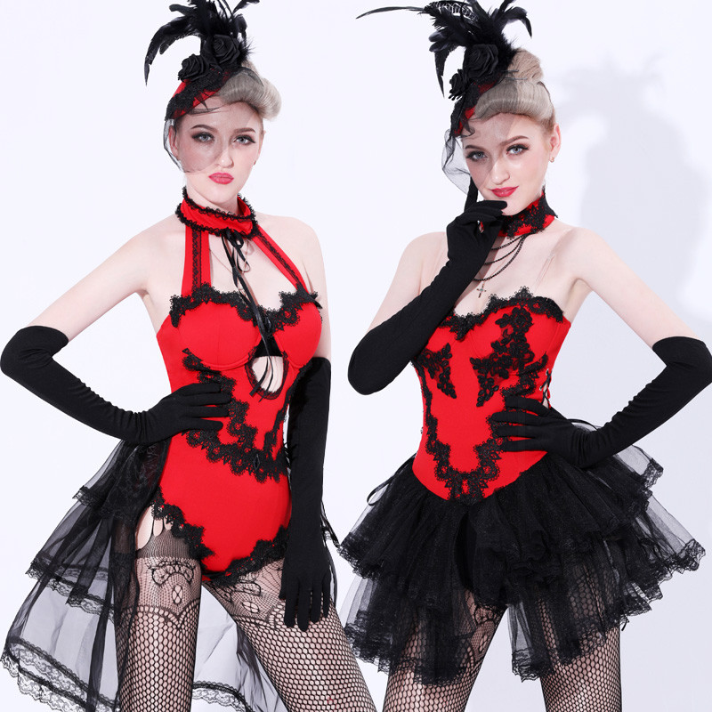 <font><b>Sexy</b></font> Bunny Girls <font><b>Costume</b></font> Women Lace Dancewear Stage Performance <font><b>Catwoman</b></font> Clubwear Tulle Train Nightclub Bodysuit Jazz Dance Suit image