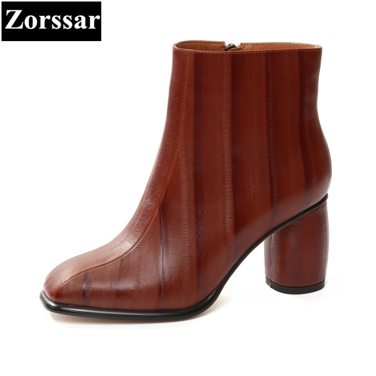 {Zorssar}2017 NEW fashion High heels short boots Square Toe womens ankle Riding Boots autumn winter women shoes large size 33-43 zorssar 2017 new winter ladies shoes fashion real leather women ankle boots high heels platform womens martin boots size 33 43