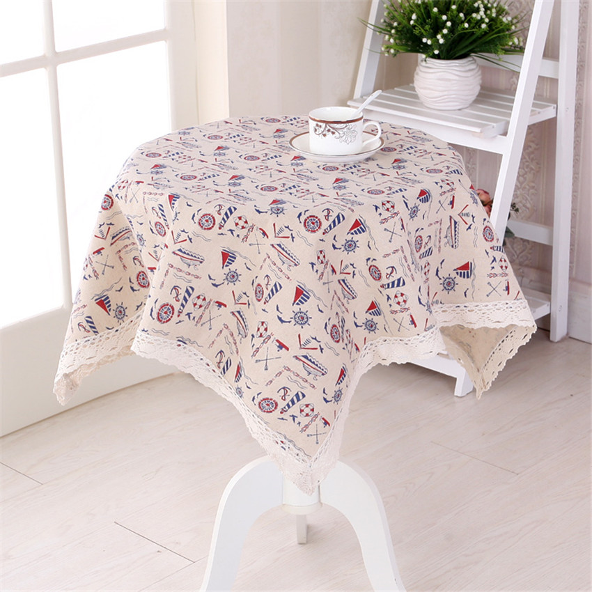 Sailing Boat Printed Coffee Table Cover Pastoral Lace