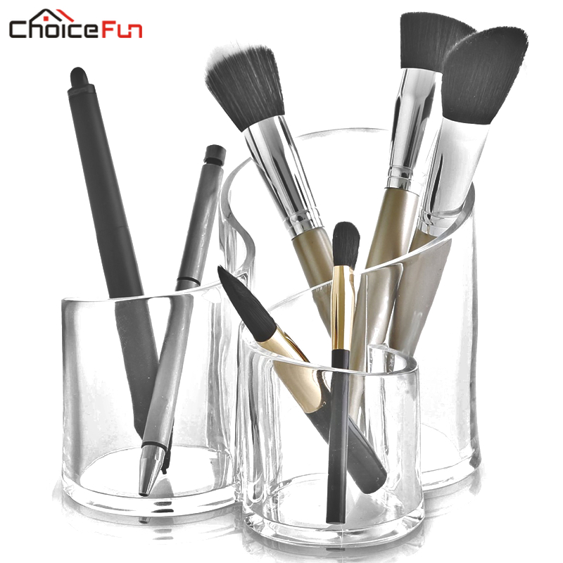 CHOICEFUN Fancy Multiple Dustproof Mascara Makeup Brush Kit Holder Organiser Clear Acrylic Makeup Brush Organizer For Cosmetic