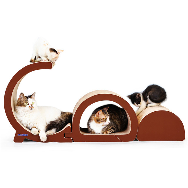 Pet Cat Scratch Post Furniture Luxury Tower Climbing Tree Scratching Board Accordion Foldable Cats Scratcher Pets Play House Toy