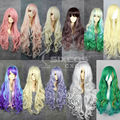 VOCALOID Luka/Louise/K-ON/Tiriel/ Zipper/Lolita Women Full Long Curly Wave Hair With Neat Tilted Bang Synthetic Cosplay Wigs