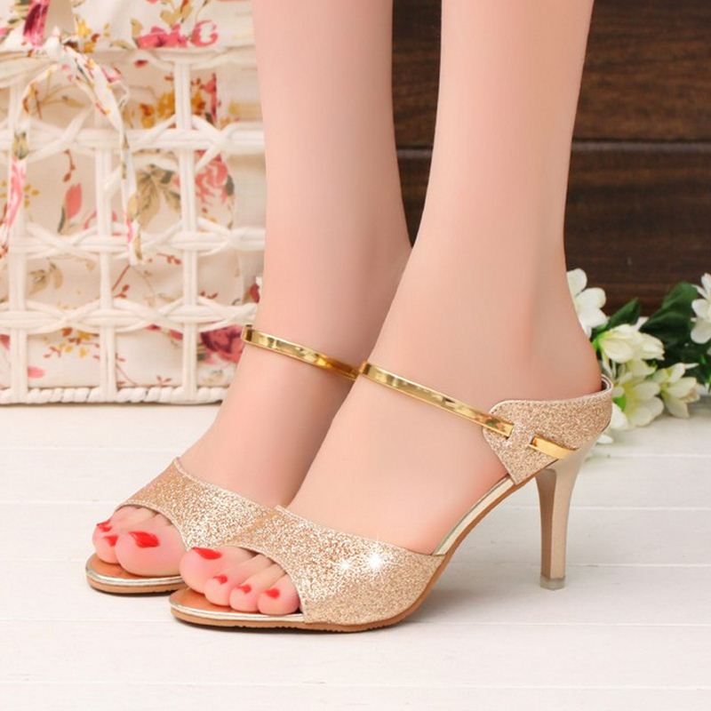 outlet on sale best price special section high heels sandals gold sliver wrap women sandals beautiful ladies ...