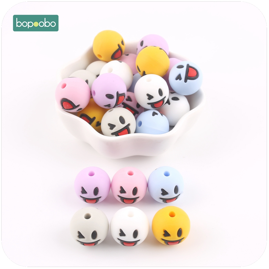 Bopoobo 15mm Silicone Wink Face Beads 10pc DIY Crafts Baby Accessories BPA Free Silicone Teething Beads Baby Teether