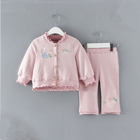 Baby Clothing Sets 2019 Spring Newborn Baby Girls Clothes Drop shoulder Single Breasted Girls Tops+Pants Outfits Set 2Pcs/set