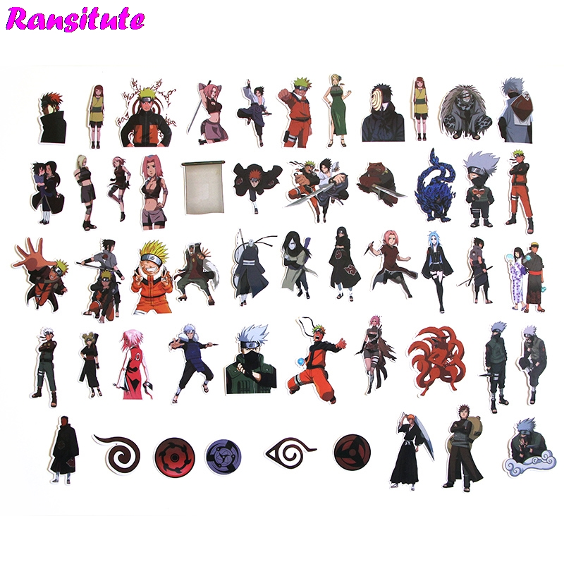 R199 50pcs/set Latest NARUTO Sticker Motorcycle And Suitcase Cool Laptop Sticker Skateboard Sticker