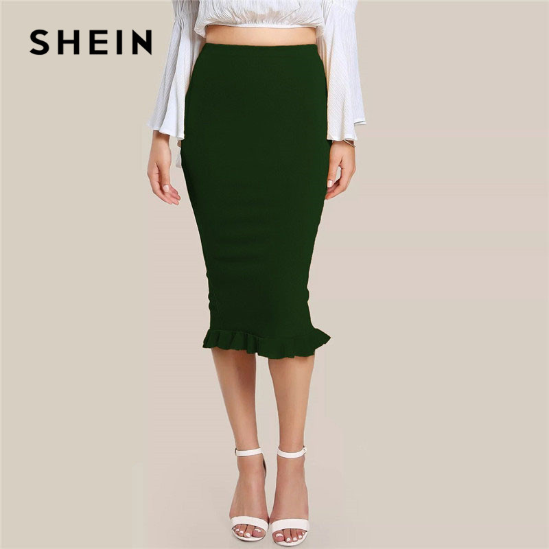 SHEIN Green Split Ruffle Hem Solid Slim Long Pencil Skirt Women Spring Elegant Office Lady Workwear Bodycon Midi Skirts