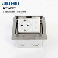 JOHO Fast Pop Up Electrical Floor Socket Box With European Socket & RJ45 16A 250V Stainless Steel Outlets Equipment