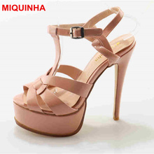 Miquinha фиолетовый лакированная кожа дань Высокая платформа женские летние босоножки открытый носок Т-ремень небо на высоком каблуке сандалии с ремешками на лодыжках