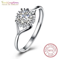 Yunkingdom shiny round wedding rings for women 925 sterling silver fine rings fashion jewelry