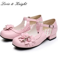 Women Elegant Mary Jane Shoes Low Heel PU Leather Jasmine Flower Decor Sweet Lolita Shoes Princess Girl Shoes