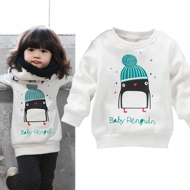 Baby Girl Winter Penguin Pattern Long Sleeve Blouse Pullover Sweater 0-3Y