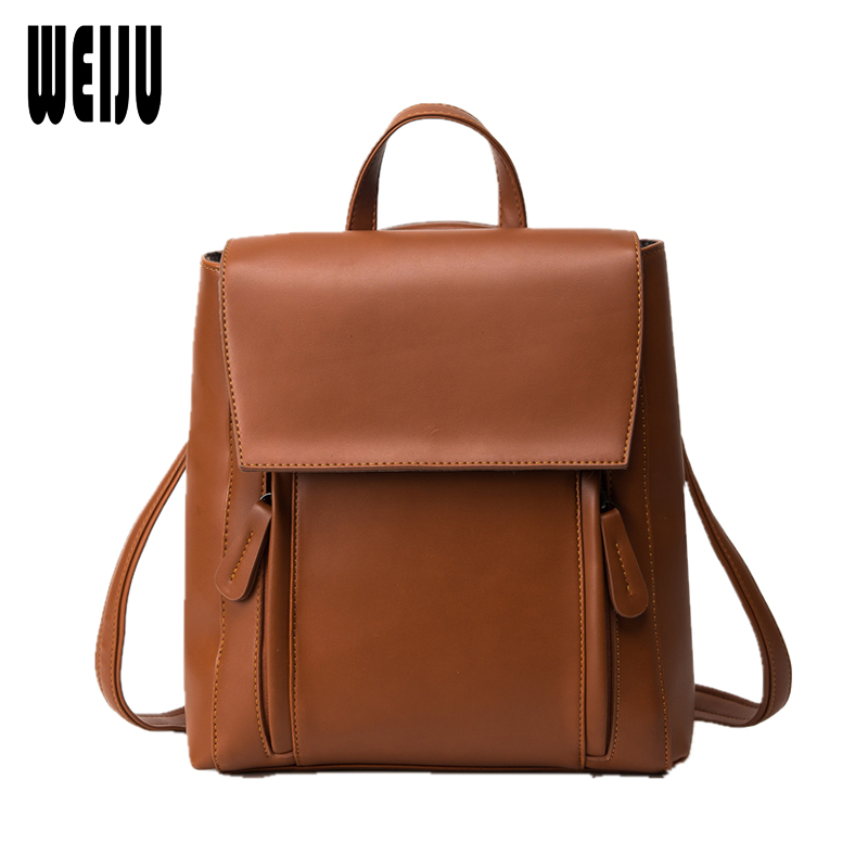 WEIJU Fashion Zipper Women Backpack Solid PU Leather Backpacks for Teenage Girls Female School Shoulder Bag Back Pack mochila