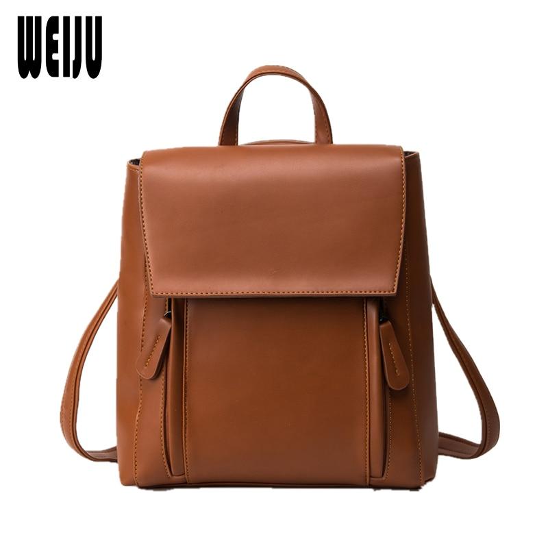 WEIJU Fashion Zipper Women Backpack Solid PU Leather Backpacks for Teenage Girls Female  ...