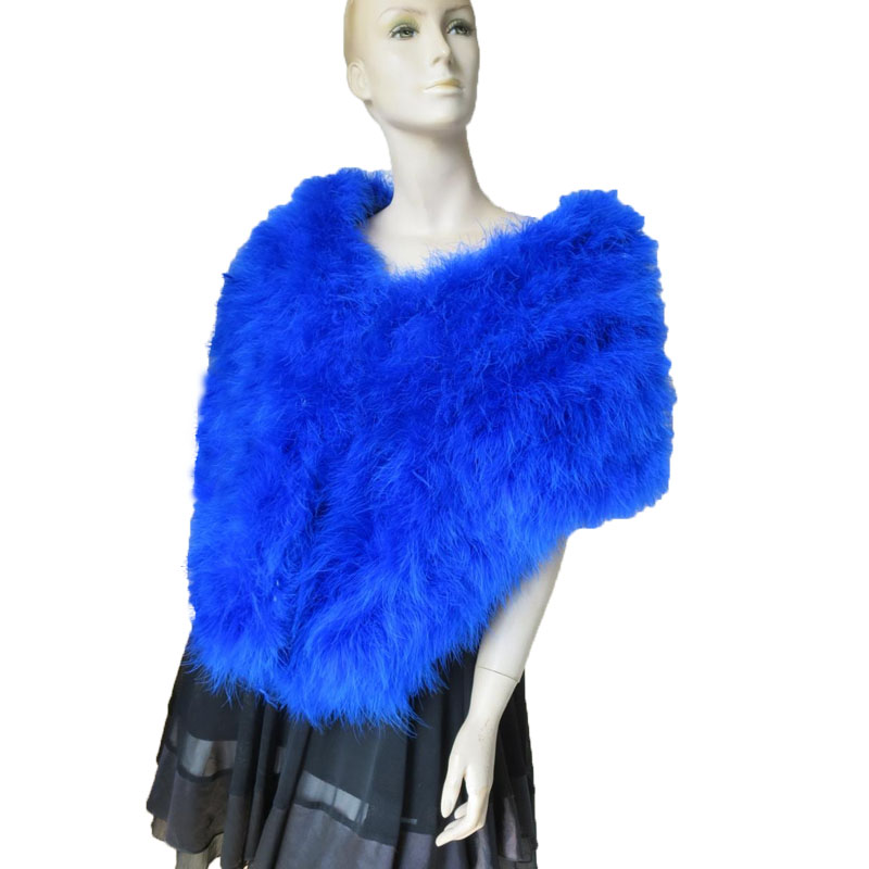 Women's  Wraps Real Ostrich Fur Scarves Female Winter Cape/ Royal Blue Fashion Winter