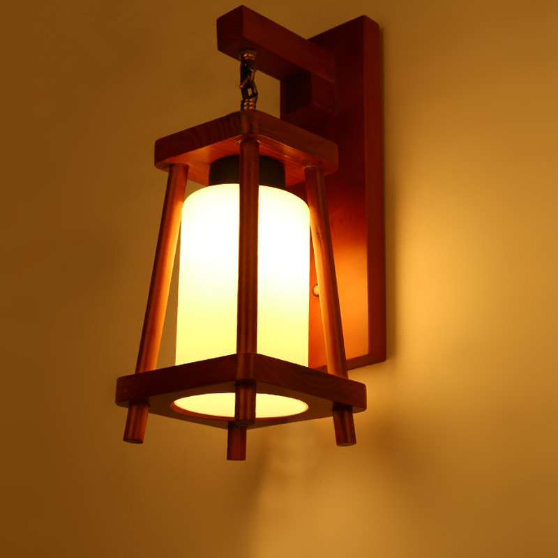 Modern Simple Chinese Style Stairs Aisle Wall Lamp Balcony Bar Study American Solid Wood Home LED Decor Light Free Shipping modern style wooden led wall lamp 220v bed room bedside wall light natural solid wood frosted glass foyer study home decoration