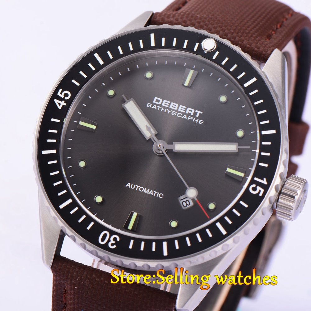 43MM Debert Ceramic Bezel Sapphire Glass Black Dial Miyota Automatic mens Watch цена и фото