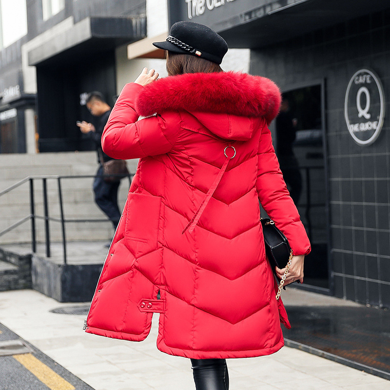 Wmwmnu Winter large fur collar Coat Women   Parka   Long Thick Slim Coats women Jackets Outerwear cotton padded windproof coat 070