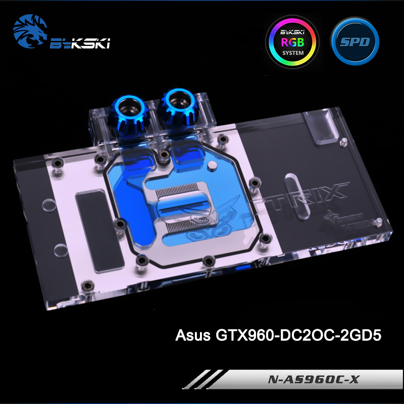 Bykski N-AS96OC-X Full Cover Graphics Card Water Cooling Block RGB/RBW/AURA for Asus GTX960-DC2OC-2GD5