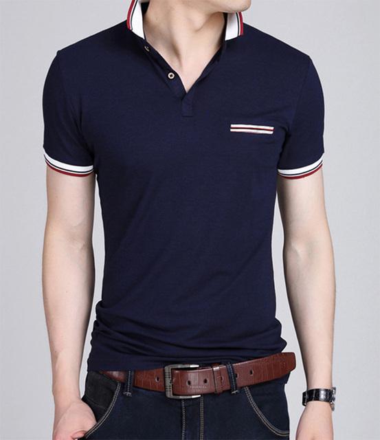 Verano Pure color Camisa de Polo de Los Hombres, anti-pilling Camisa de Algodón Ocasional Del Hombre.