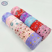 "HL 6 Yards 1"" width printed organza ribbon wedding christmas decorative crafts DIY gift wrap belt A052"
