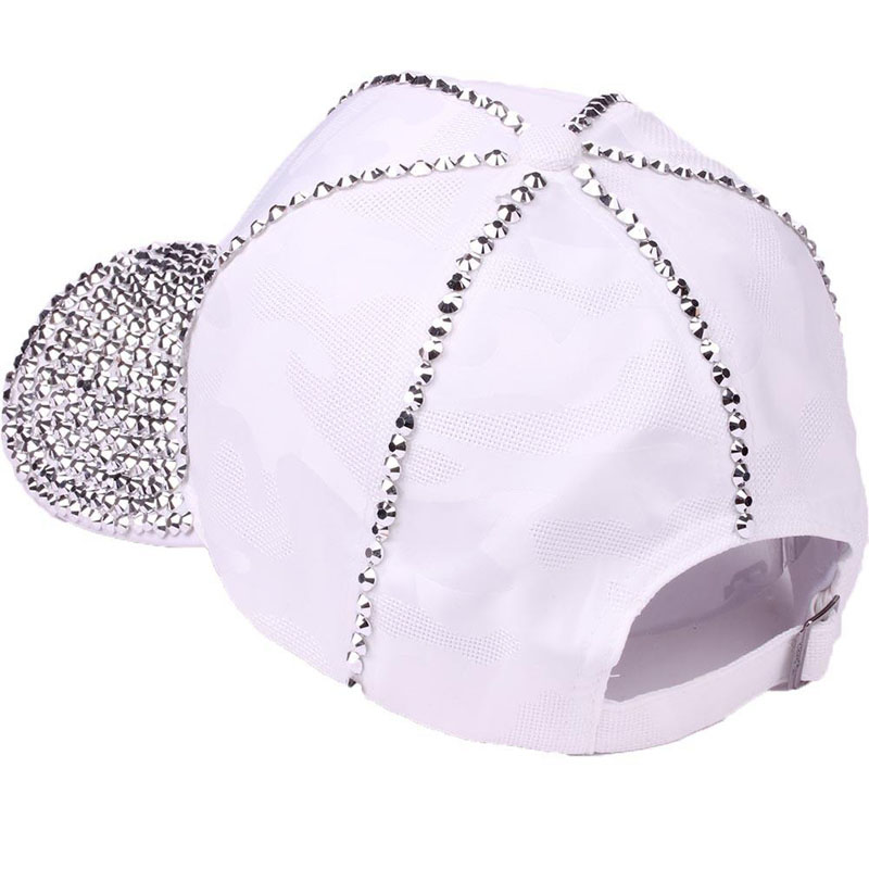 new design women luxury rhinestone bling casual fashion baseball cap solid jet black white adjustable size casual caps in Women 39 s Baseball Caps from Apparel Accessories