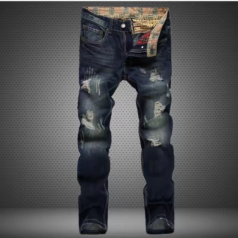 High-quality fashion trends casual hole beggar boutique jeans European and American style washing worn straight jeans men 28-38