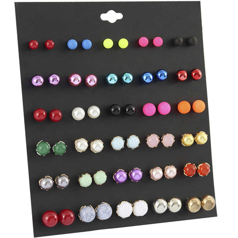 OATHYAN 30 Pairs/set Fashion Colorful Round Bead Ball Stud Earrings Set For Women Classic Plastic Resin Pearl Earring Jewelry