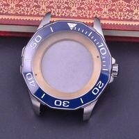 44mm Sapphire Glass Polygonal ceramics Bezel Watch Case fit ETA 2824 2836