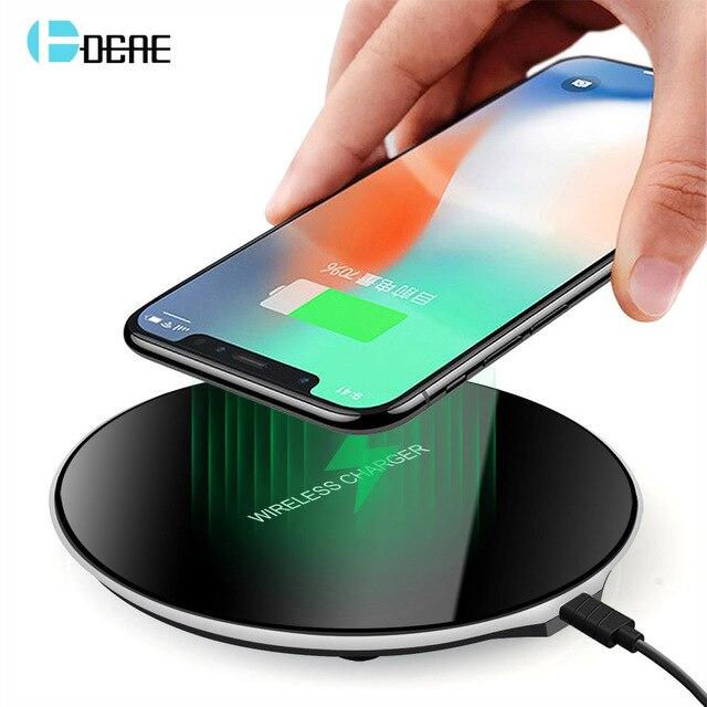 DCAE Qi Sạc Không Dây Cho Samsung Galaxy S9 S8 Cộng Với Gương Sạc Pad Dock Sạc Cái Nôi USB Cho iPhone 8 XS X Max XR